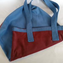 Handmade Bordeaux and cyan Fustian, Tote bag with pocket