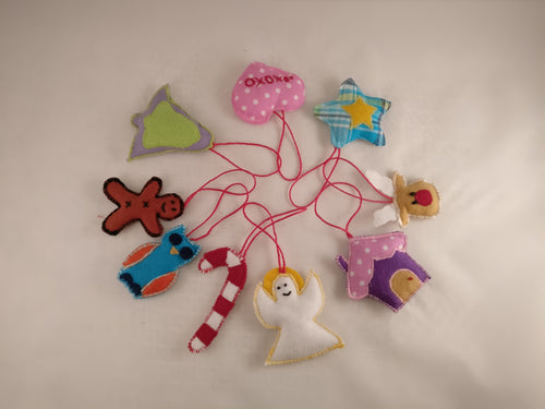 Handmade fabric Christmas tree ornaments, Premium selection