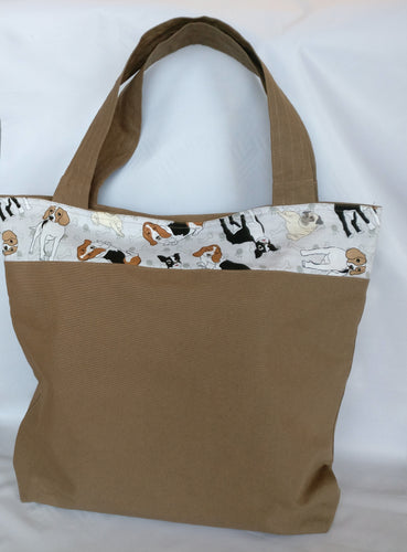 Handmade Dog themed, brown, Tote bag with pockets