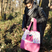 Handmade floral and hot pink, Tote bag with pockets