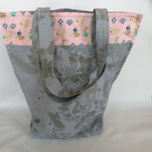 Handmade Grey and baby pink, Tote bag with pocke