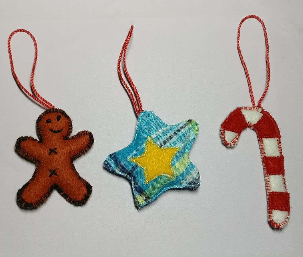 Handmade fabric Christmas tree ornaments, Premium selection, Combo set of 3