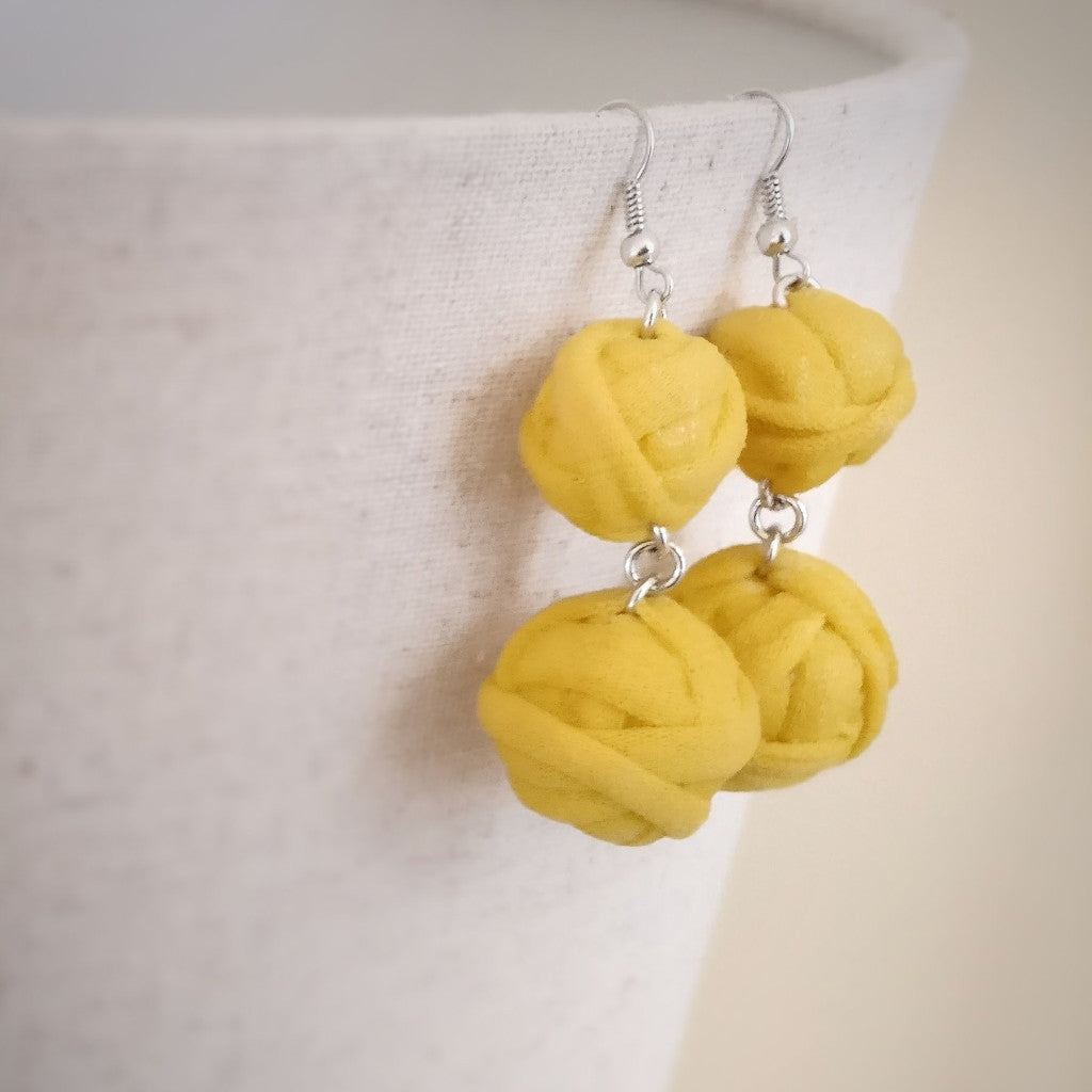 Yellow, Spaghetti Yarn Beads, Dangle Earrings