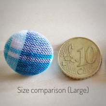 Blue on White, Polka-dots, Fabric Button, Stud Earrings, Large size