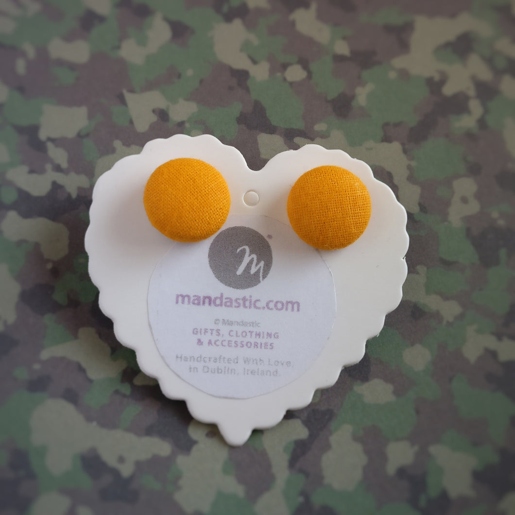 Orange, Fabric Button, Stud Earrings