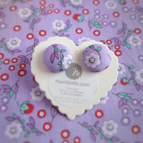 Purple, Floral, Fabric Button, Stud Earrings