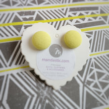 Yellow, Fabric Button, Stud Earrings, Small pair