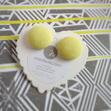 Yellow, Fabric Button, Stud Earrings, Large pair