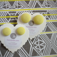Yellow, Fabric Button, Stud Earrings, 2 pairs