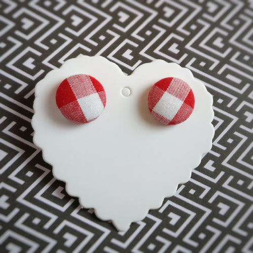 Red and White, Plaid, Gingham check, Fabric Button, Stud Earrings
