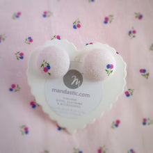 Baby pink, Floral, Fabric Button, Stud Earrings