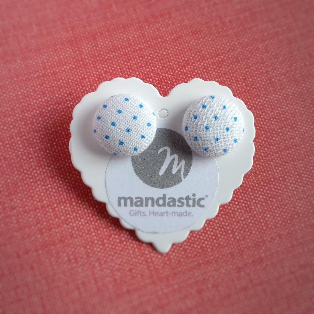 Blue on White, Polka-dots, Fabric Button, Stud Earrings