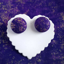 Purple and Gold, Speckled themed, Fabric Button, Stud Earrings, Large pair