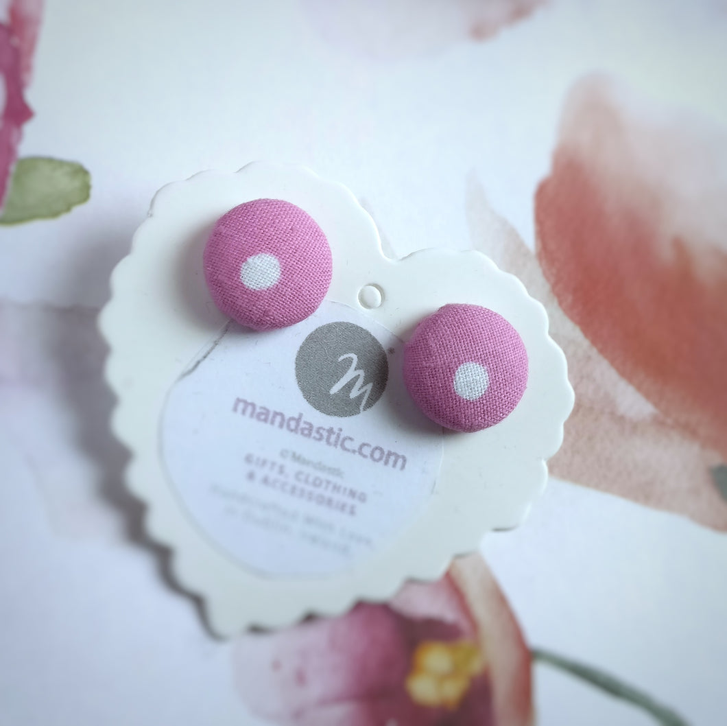 White on Pink, Polka-dots, Fabric Button, Stud Earrings, Small pair