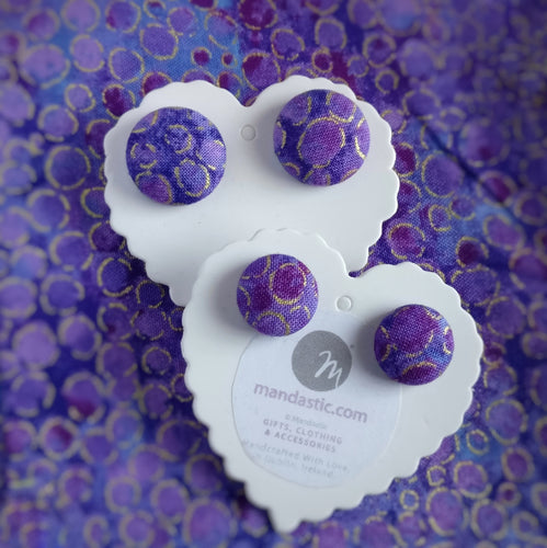 Purple and Gold, Metallic circles themed, Fabric Button, Stud Earrings, 2 pairs
