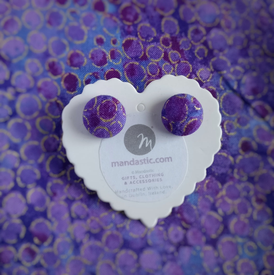 Purple and Gold, Metallic circles themed, Fabric Button, Stud Earrings, Small pair
