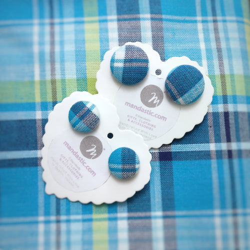 Blue and White, Plaid, Gingham check, Fabric Button, Stud Earrings, 2 pairs