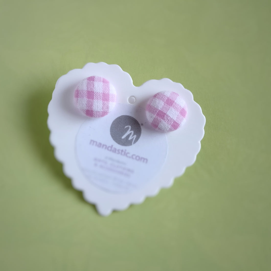 Pink and White, Plaid, Gingham check, Fabric Button, Stud Earrings, Small pair
