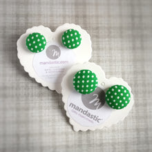 White on Green, Polka-dots, Fabric Button, Stud Earrings, 2 pairs