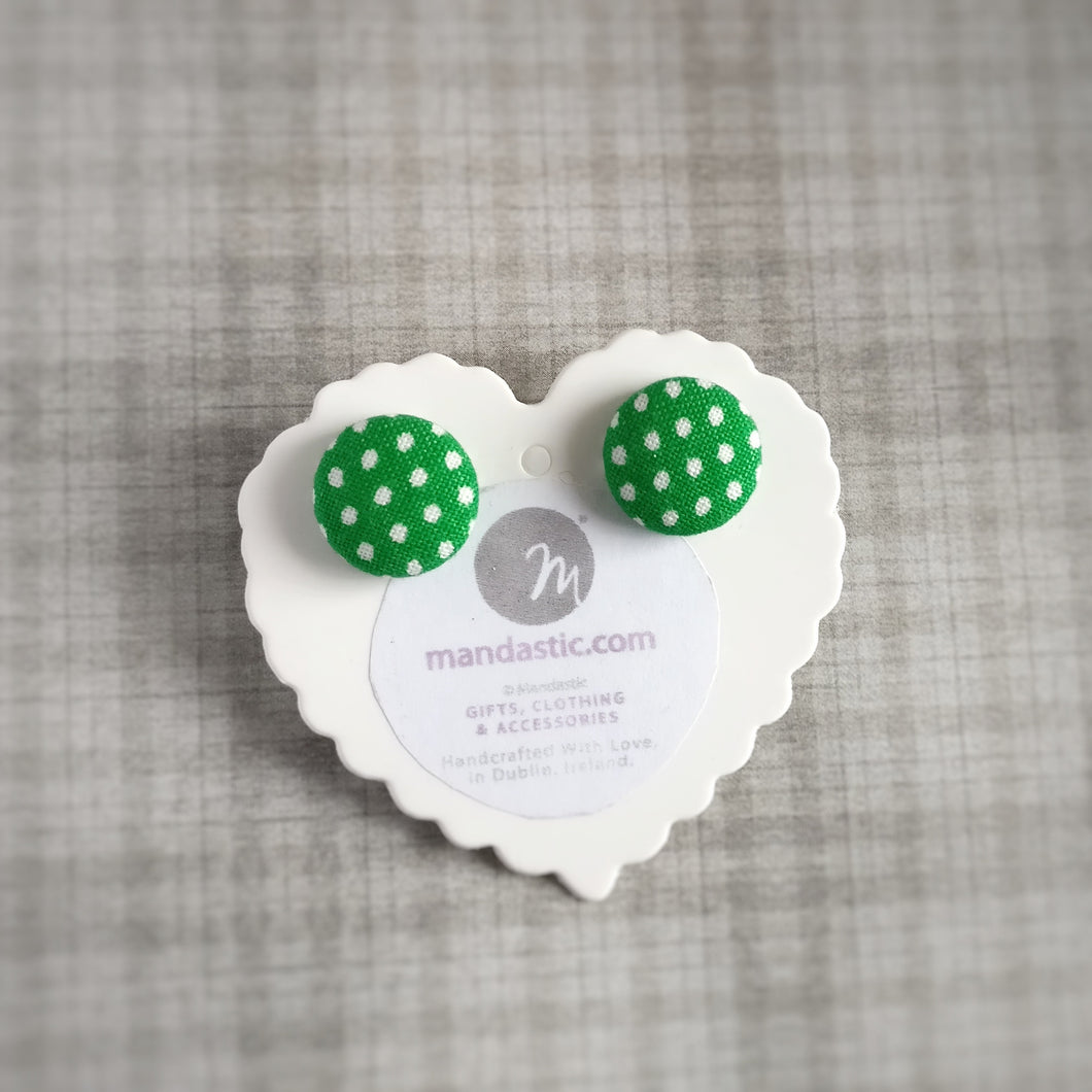 White on Green, Polka-dots, Fabric Button, Stud Earrings, Small pair