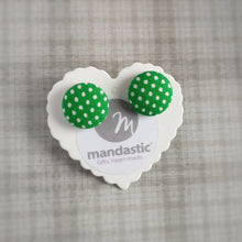 White on Green, Polka-dots, Fabric Button, Stud Earrings, Large pair