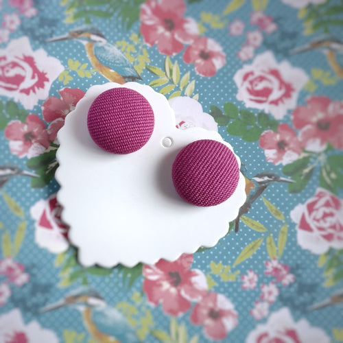 Hot-Pink, Fabric Button, Stud Earrings
