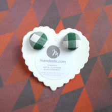 Green and White, Plaid, Gingham check, Fabric Button, Stud Earrings