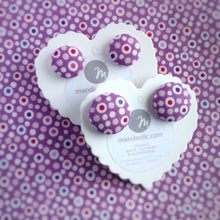 Colourful dots on Purple, Polka-dot, Fabric Button, Stud Earrings, 2 pairs