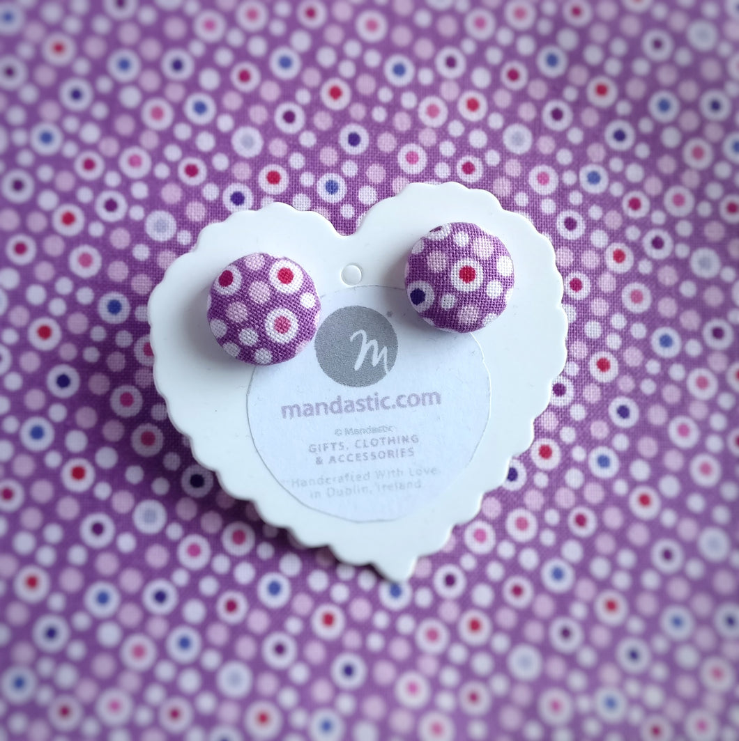 Colourful dots on Purple, Polka-dot, Fabric Button, Stud Earrings, Small pair