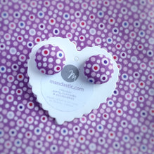 Colourful dots on Purple, Polka-dot, Fabric Button, Stud Earrings, Large pair