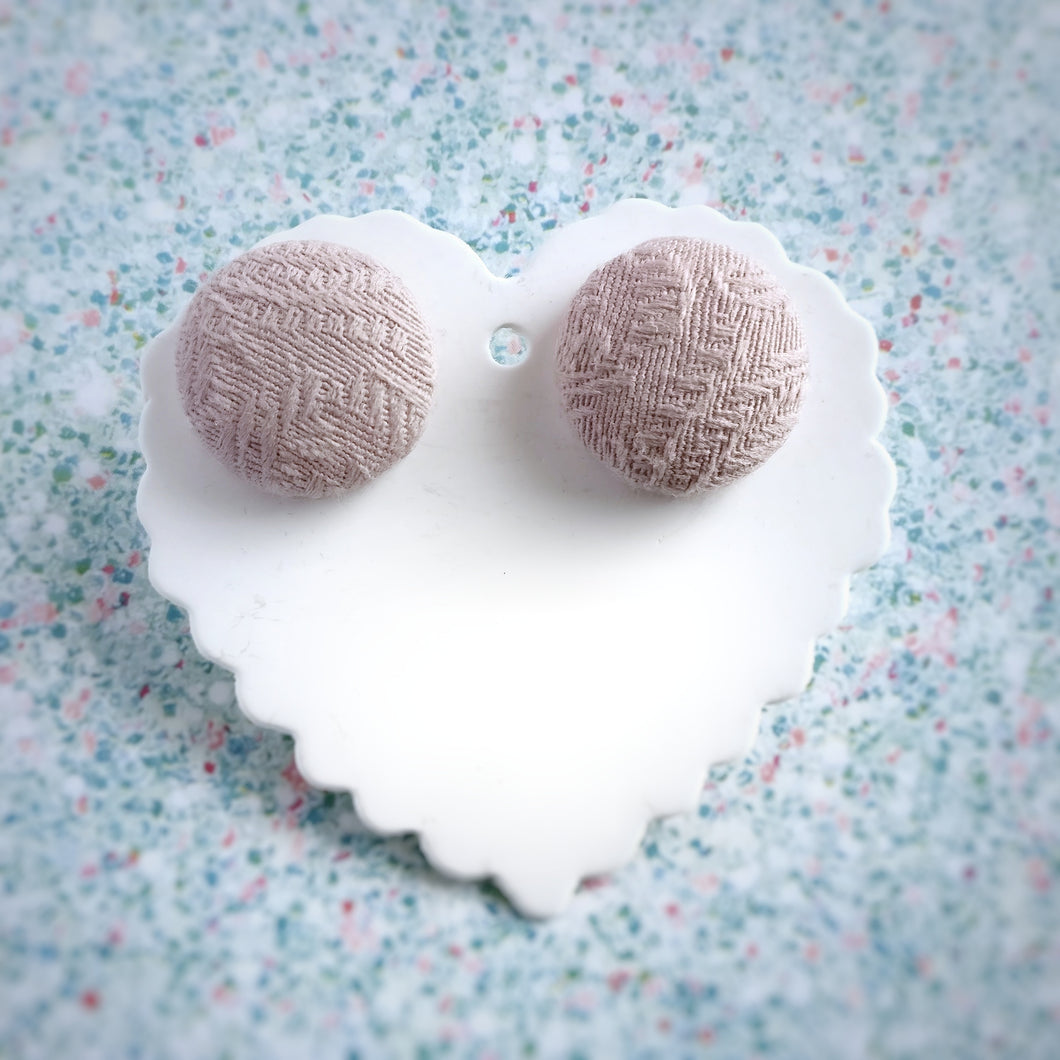 Nude-Pink, Textured, Fabric Button, Stud Earrings