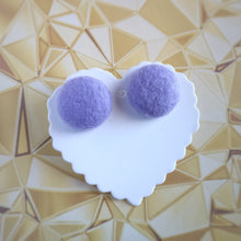 Purple, Felt, Fabric Button, Stud Earrings