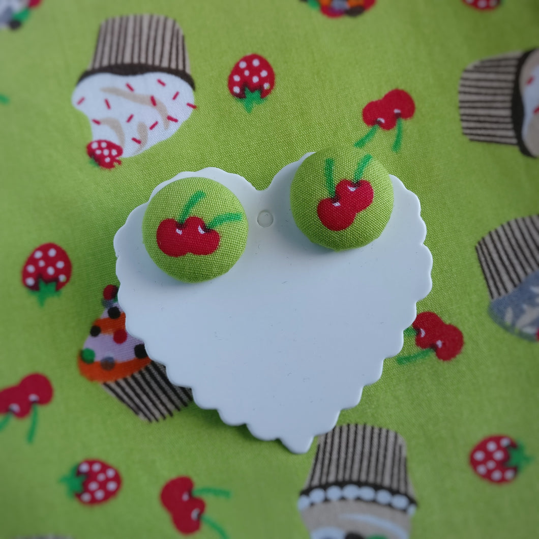 Cherries, Fabric Button, Stud Earrings