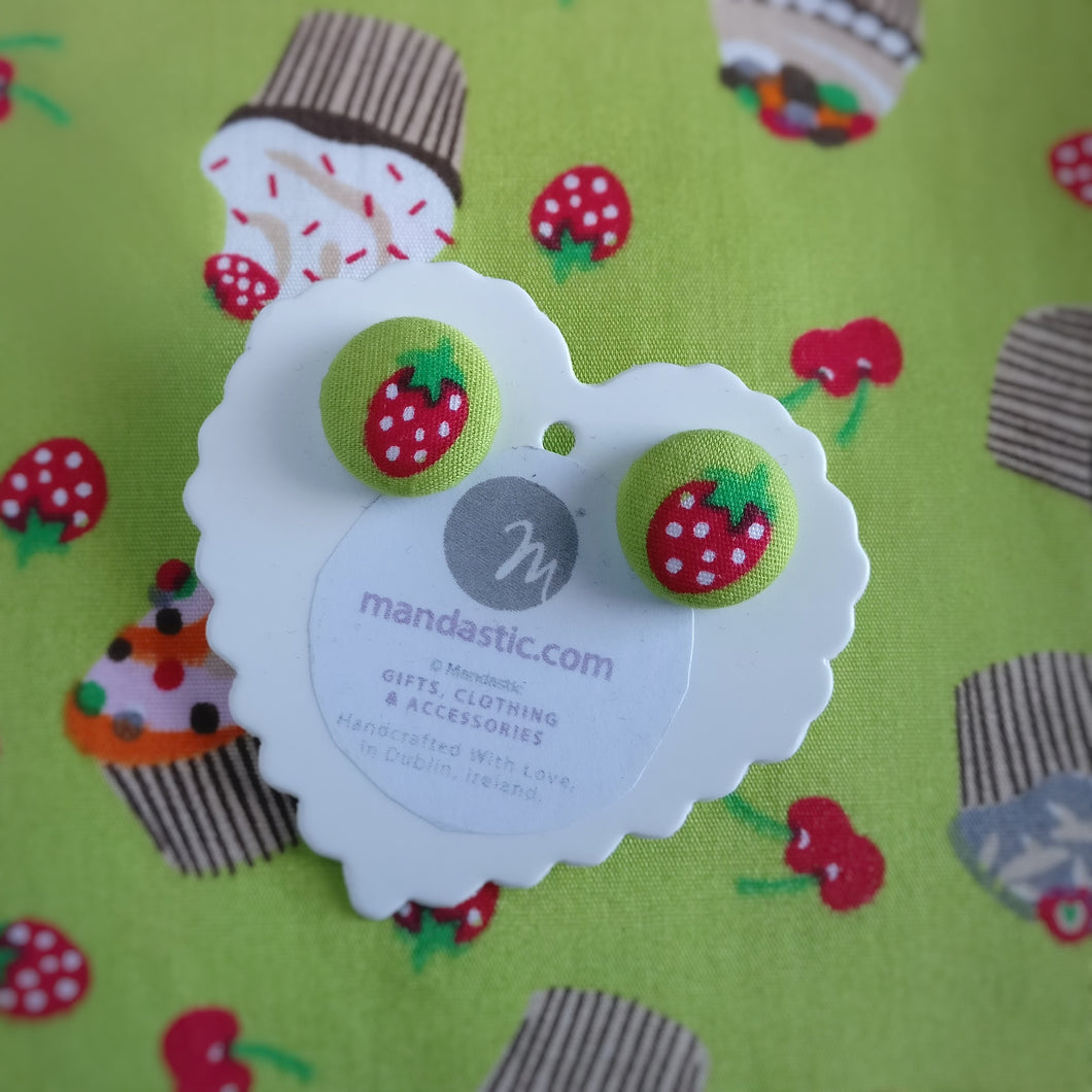 Strawberries, Fabric Button, Stud Earrings