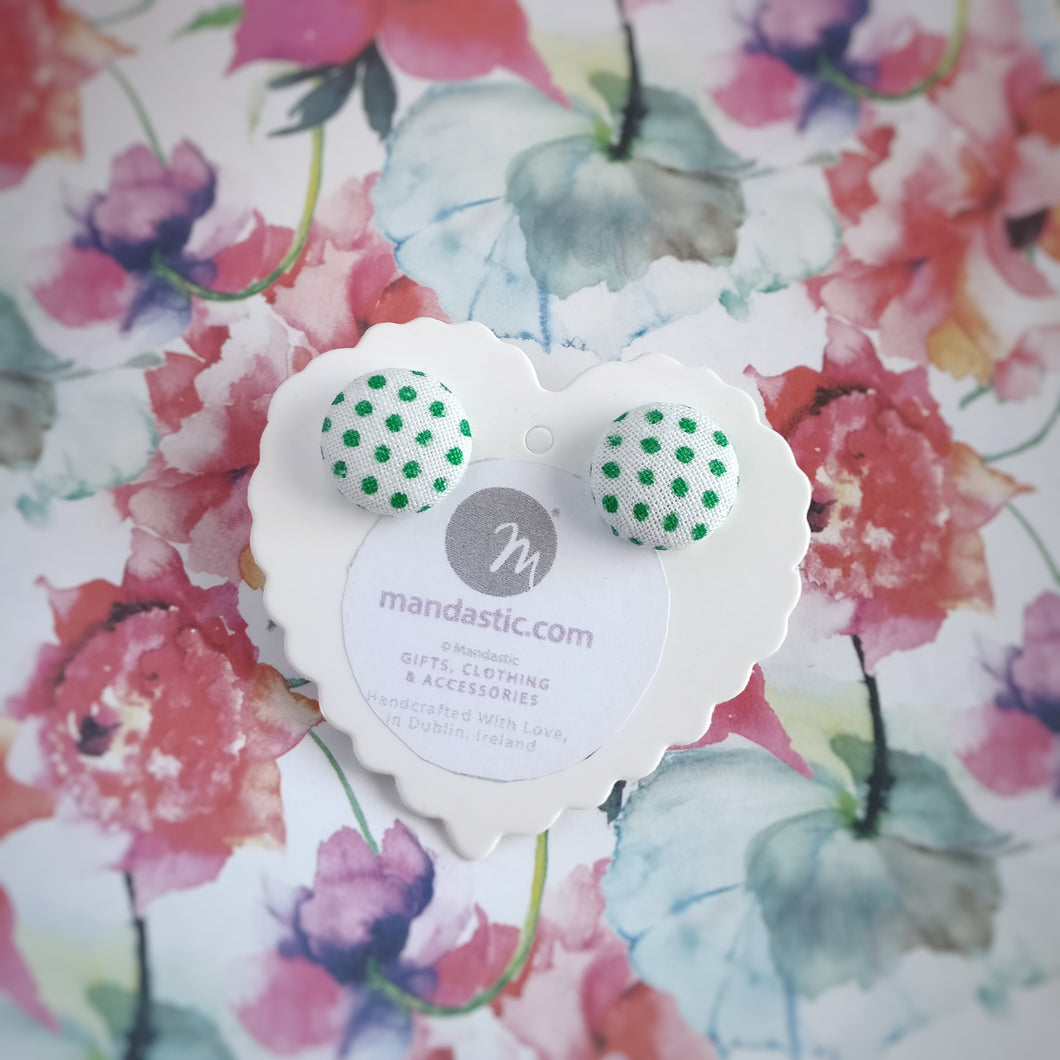 Green on White, Polka-dots, Fabric Button, Stud Earrings, Small pair