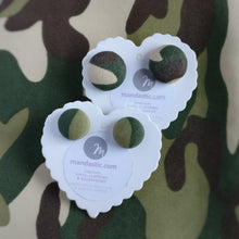 Army, Camouflage, Military, Fabric Button, Stud Earrings, 2 pairs