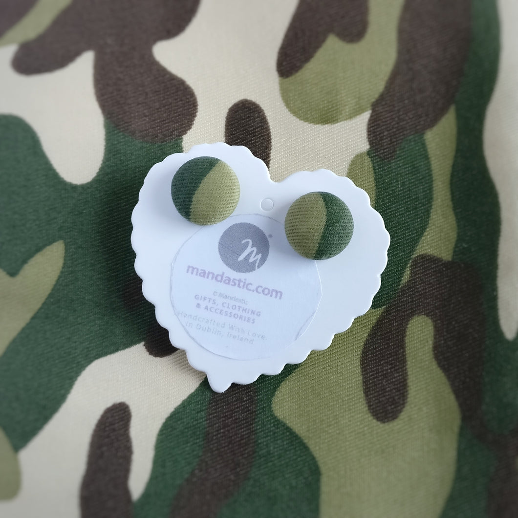 Army, Camouflage, Military, Fabric Button, Stud Earrings, Small pair