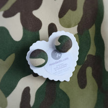 Army, Camouflage, Military, Fabric Button, Stud Earrings, Large pair