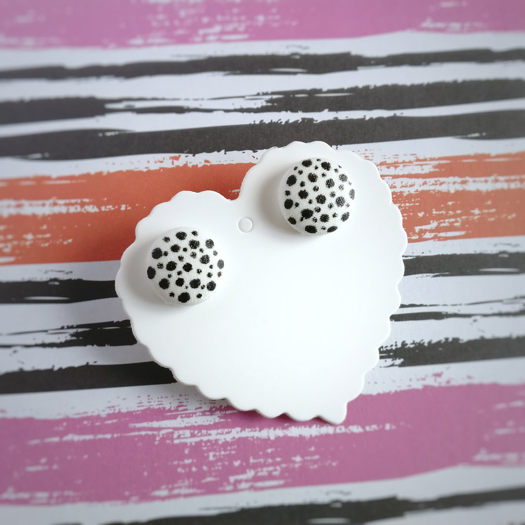 Black on White, Polka-dots, Vegan leather, Fabric Button, Stud Earrings, Small pair