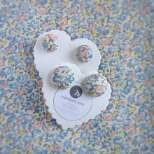 Blue,Salmon-Pink and Yellow, Floral, Fabric Button, Stud Earrings, 2 pairs