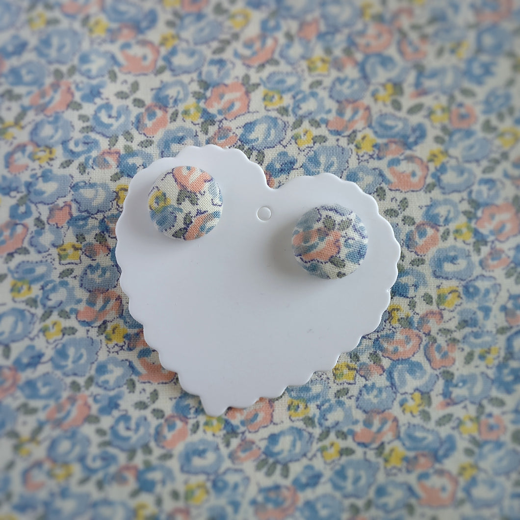 Blue,Salmon-Pink and Yellow, Floral, Fabric Button, Stud Earrings, Small pair