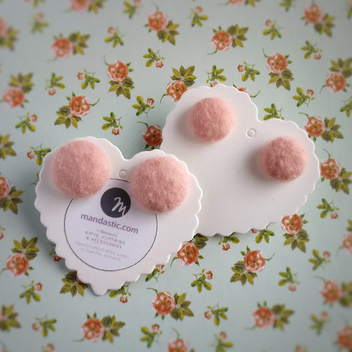 Salmon-Pink, Fabric Button, Stud Earrings, 2 pairs