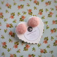 Salmon-Pink, Fabric Button, Stud Earrings, Large pair
