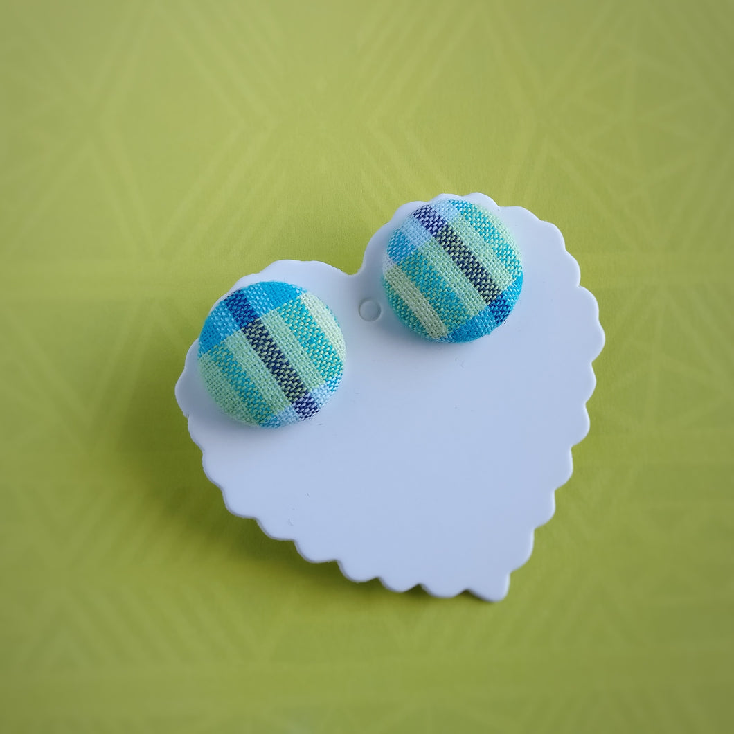 Blue and Yellow, Plaid, Gingham check, Fabric Button, Stud Earrings