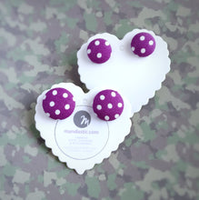 White on Purple, Polka-dots, Fabric Button, Stud Earrings, 2 pairs