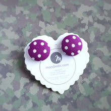 White on Purple, Polka-dots, Fabric Button, Stud Earrings, Large pair