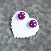 White on Purple, Polka-dots, Fabric Button, Stud Earrings, Small pair