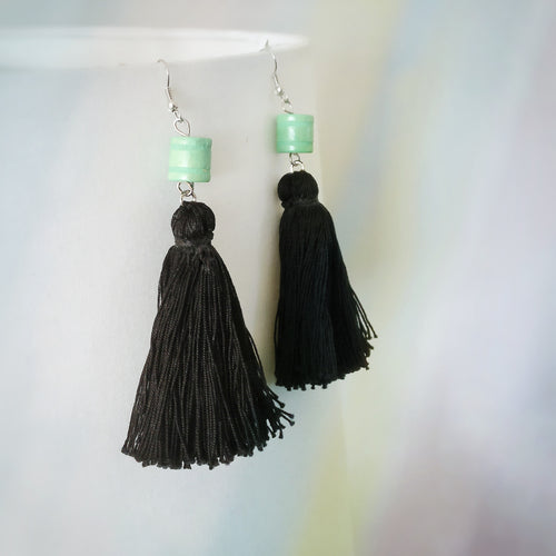 Black Tassels, Green Beads, Dangle Earrings