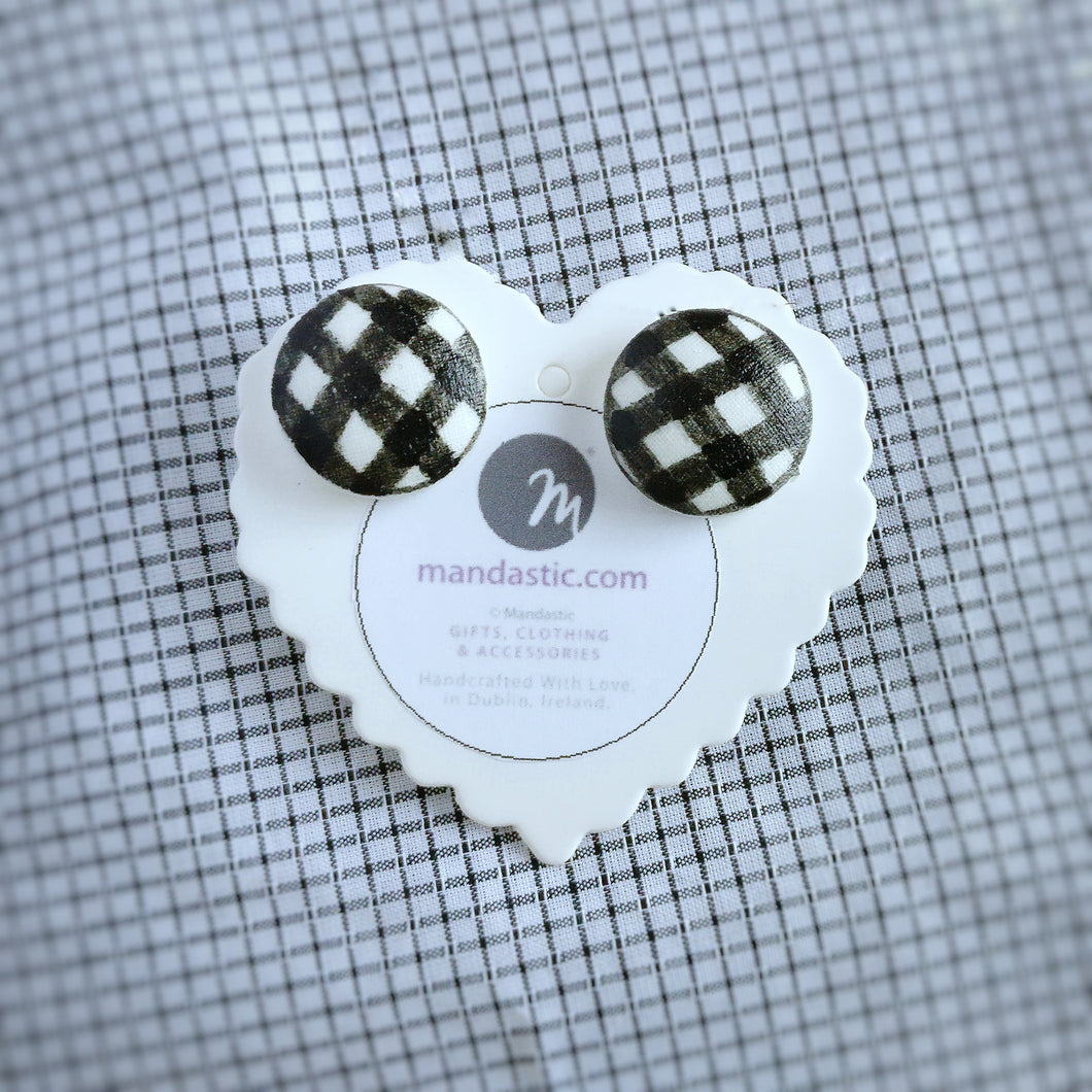 Black and White, Plaid, Gingham check, Vegan leather, Fabric Button, Stud Earrings