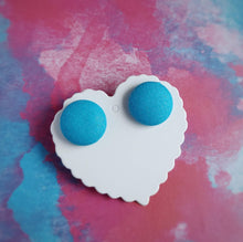 Fabric Button, Stud Earrings, Large pair, Turquoise-blue background